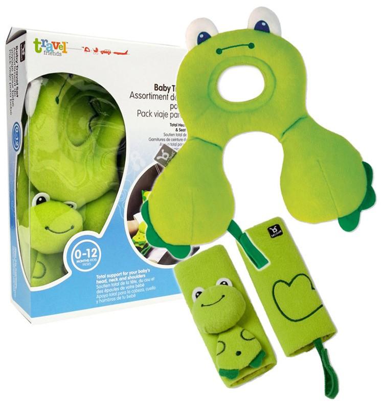 BENBAT 3v1 Travel set Nákrčník s opěrkou hlavy a ochranou pásů žába 0-12m -  Zelená 42c5b11440