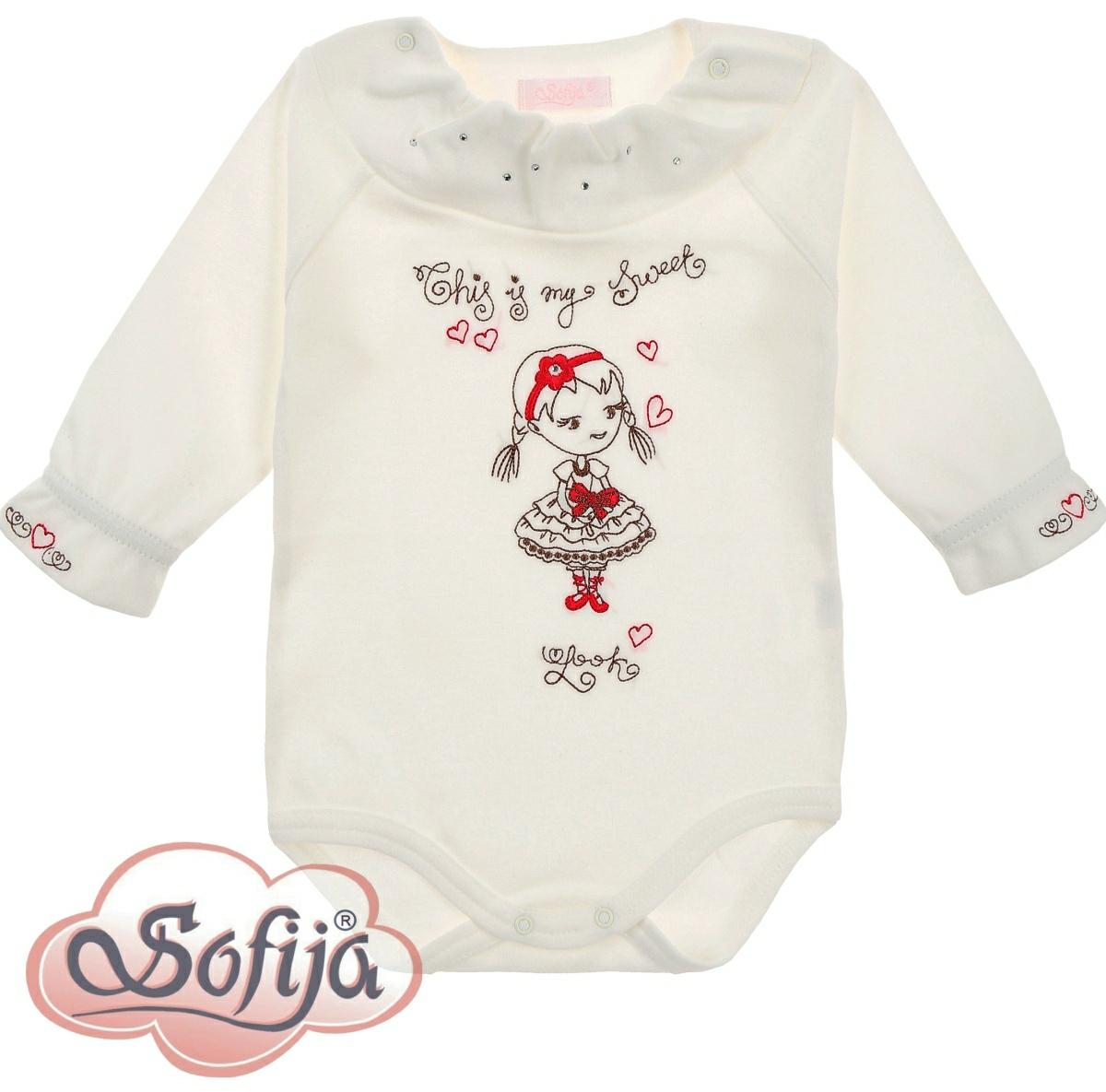 SOFIJA Body dl.rukáv bavlněné Natali bílé s kamínky - 80cm cc4cccf1a5